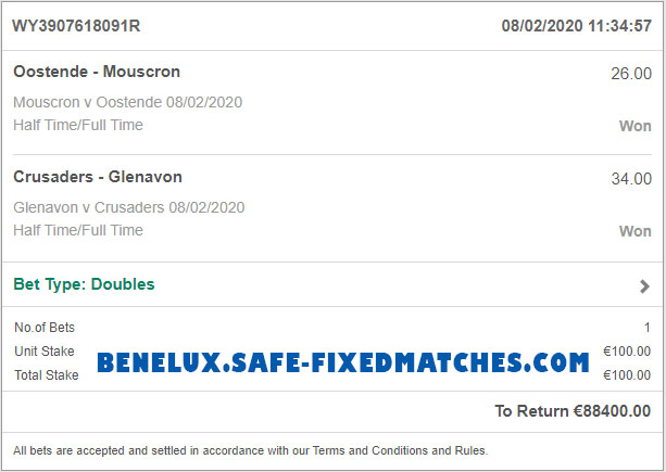 100% soccer fixed matches